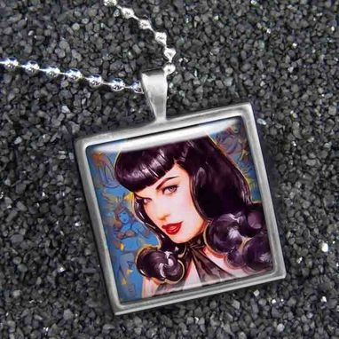 Custom Made Betty Page Pinup Girl Sterling Silver Necklace 260-Ssn