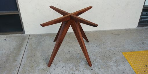 "Custom Made Walnut ""Teepee"" Table Base For 48 Inch Diameter Glass Tabletop"