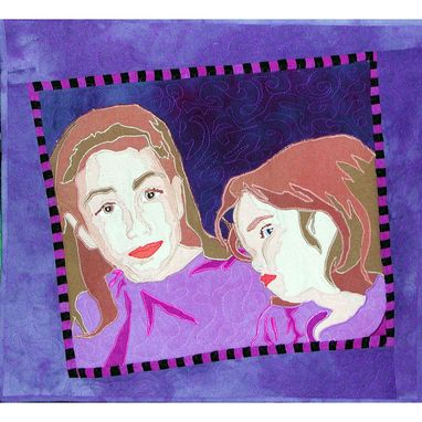 Custom Made Small Double Art Quilt Portrait: Portrait Of Hannah And Eleanor
