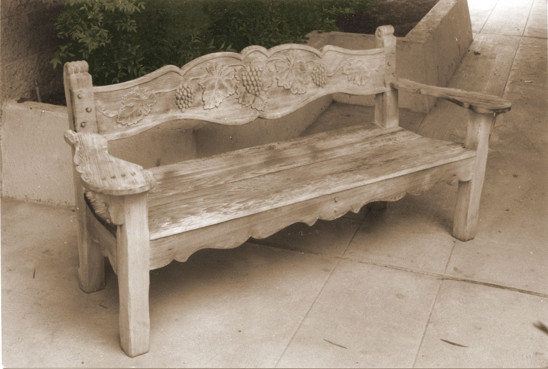 Hand made bench grape design redwood carved by k