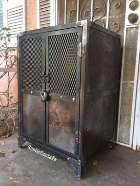 Buy A Hand Crafted Industrial Steel Locking Liquor Cabinet Made To Order From Rustic Santa Fe