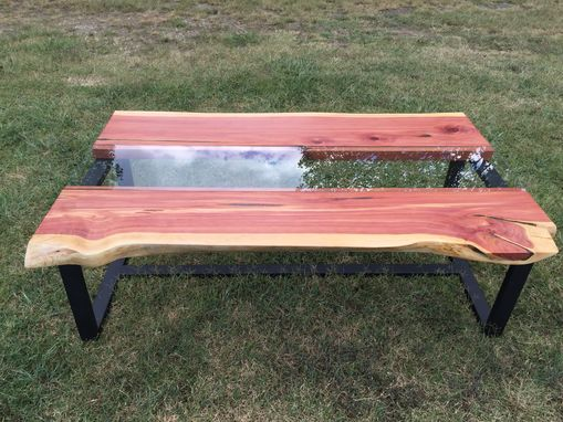 Custom Live Edge Cedar Coffee Table With Glass Channel by Southern ...