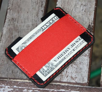 Custom Made Handmade Leather Parvus Wallet Black Chromexcel Red W/ Money Band