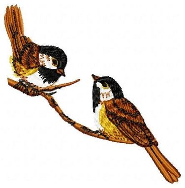 Custom Made Chickadees Embroidery Design