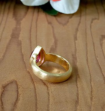 Custom Made 22k Gold Pear Shaped Cab. Tourmaline And Sapphire Ring.