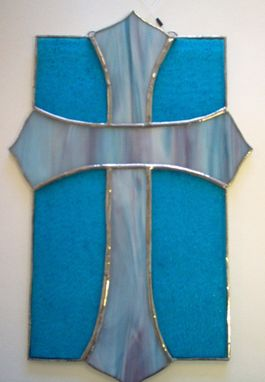 Custom Made Stained Glass Cross, Ready To Ship
