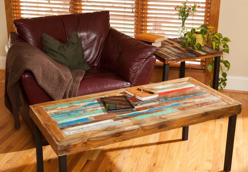 buy a hand made reclaimed wood coffee table, teak coffee table