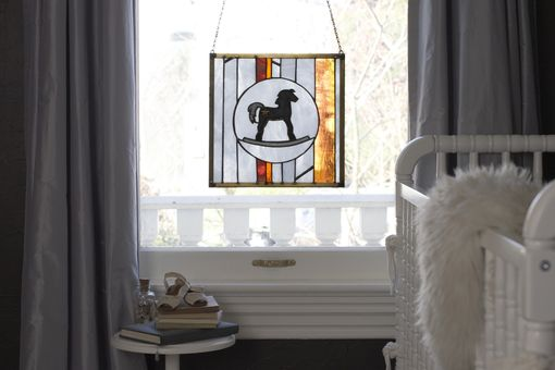 Custom Made Contemporary Rocking Horse Stained Glass Window