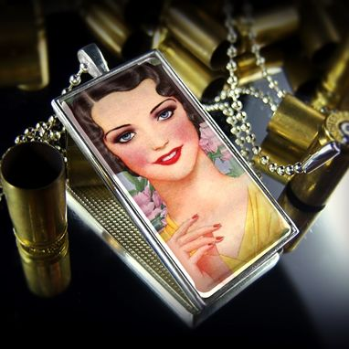 Custom Made Sterling Silver Vintage 1920'S Glamour Pin Up Necklace 257-Srcn