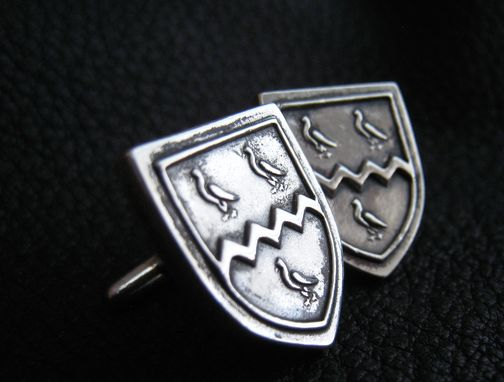 Custom Made Sterling Silver  Cufflinks With Custom Heraldic Crest