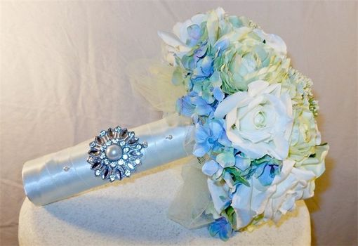 Custom Made White And Blue Rose Brides Bouquet
