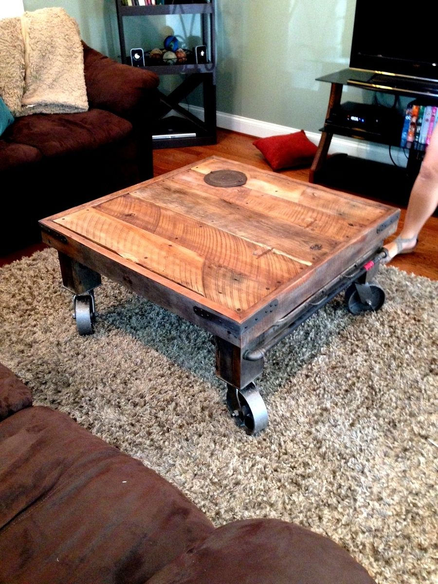 hand made industrial feel reclaimed wood coffee table by mark alan