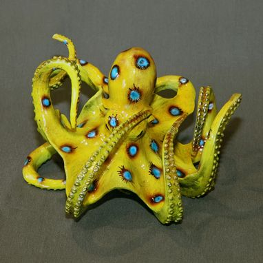 "Custom Made Bronze Octopus Figurine Statue ""Eli Octopus"" Sculpture Aquatic Art Limited Edition Signed Numbered"