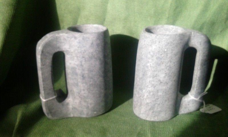 custom pair of handmade soapstone mugs by mark mcquarry