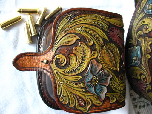 Custom Made Tooled  Leather Gun Belt, Sa 1873 Holster Leather Cap Box_Western