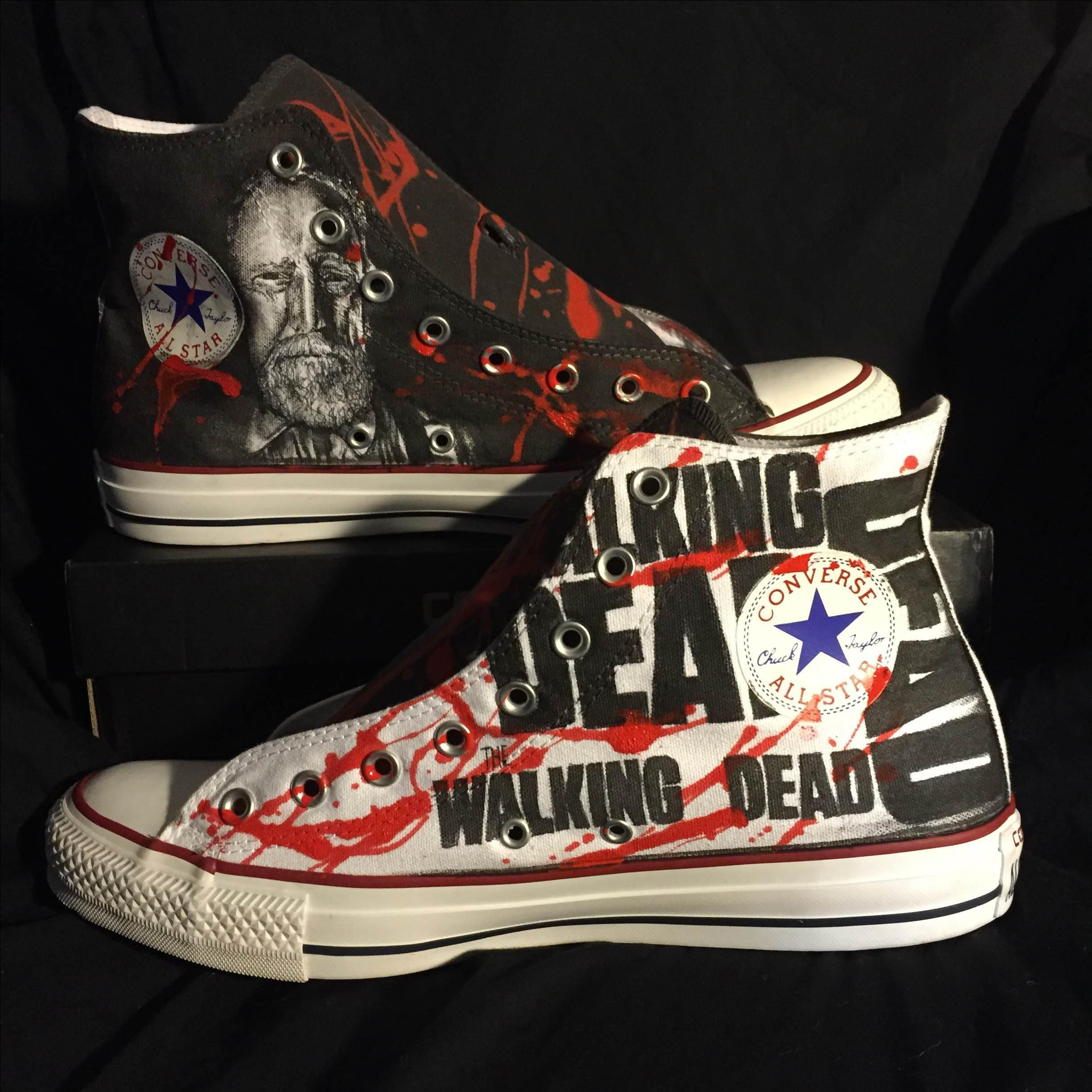 Walking Dead Converse Shoes For Sale - Buy handmade hand drawn the walking dead custom shoes made to order from alzado company custommade com