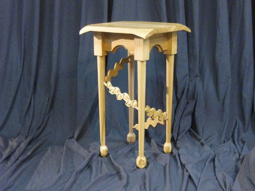 Custom Made Carved Poplar Side Table.