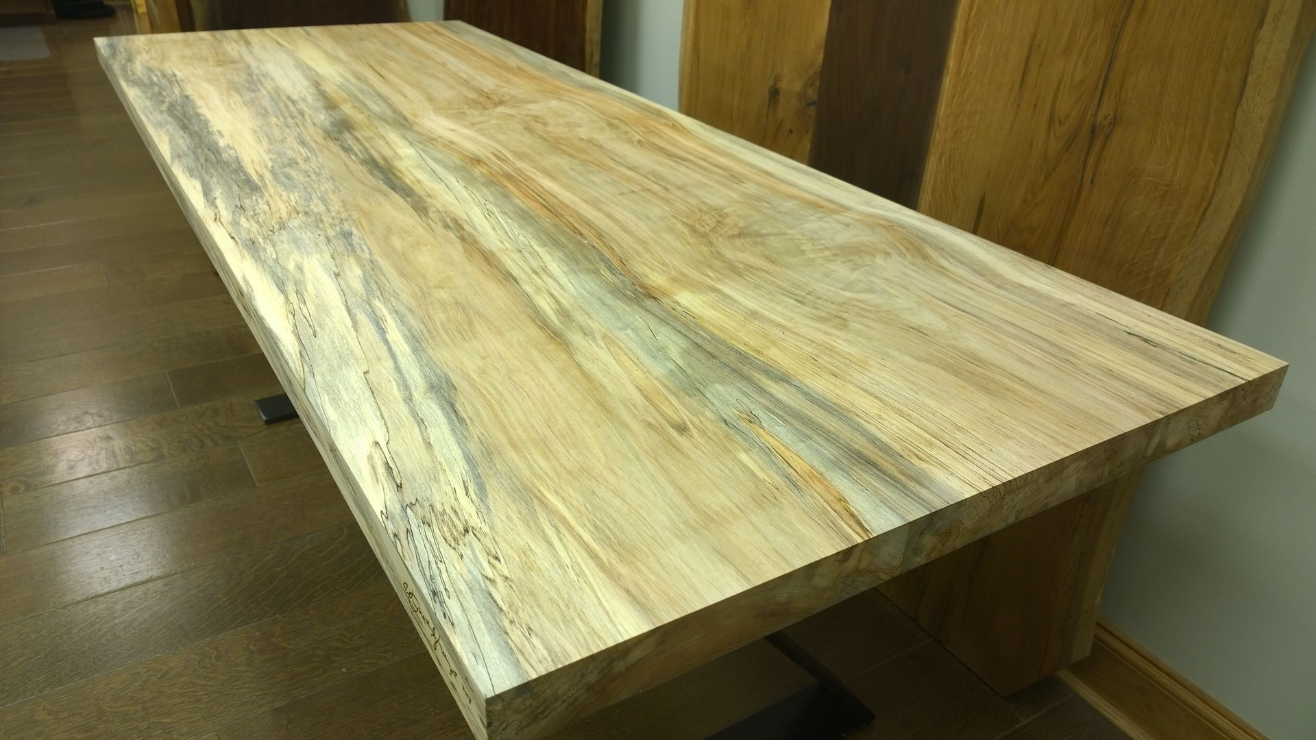 Custom Made Spalted Soft Maple Wooden Desk Top. Handmade Spalted Soft Maple Wooden Desk Top by Stump Standards
