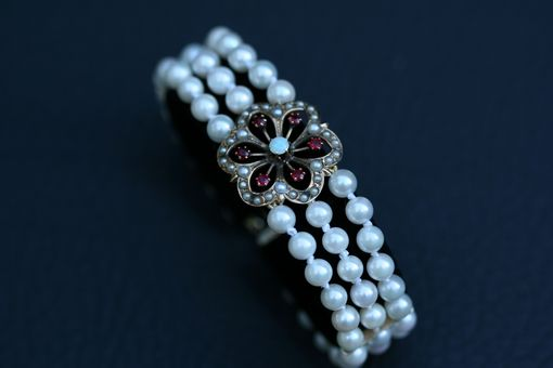 Custom Made Victorian Flower Bracelet With Pearls, Opals And Rubies. Perfect For Bridal Jewelry!
