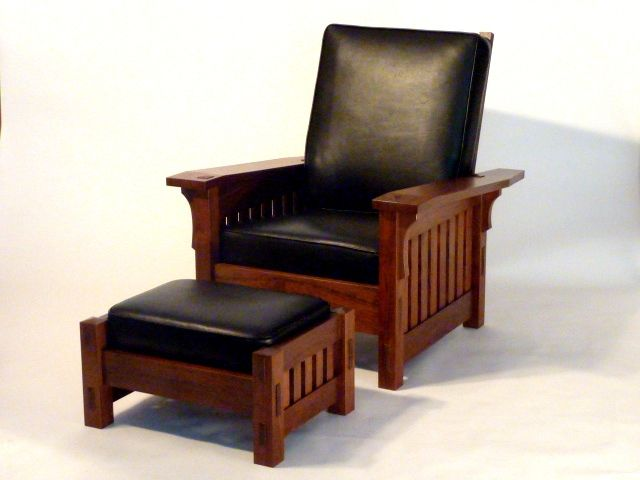 Hand Crafted Black Walnut Morris Style Chair By Benchmark