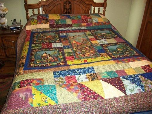 Custom Made Breathtaking Colorful Bird Quilt With Cardinals, Blue Jays And Others.