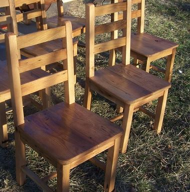 Custom Made Reclaimed Antique Wormy Chestnut Rustic Dining Chairs