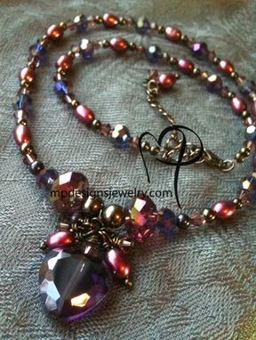 Custom Made Passion ~ Crystal Purple Heart Swarovski Crystal Pearl Necklace
