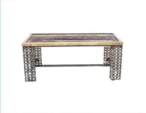Custom Made Farmhouse Rustic Coffee Table Reclaimed Wood Welded Chain Art