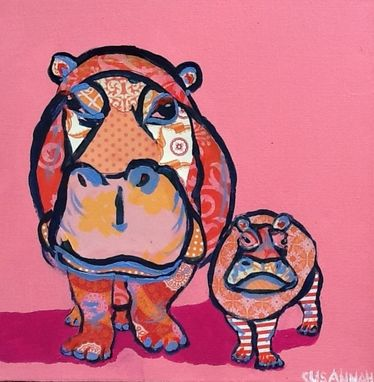 Custom Made Hungry Hungry Hippos Original Painting Collage