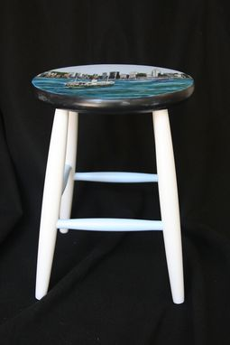 Custom Made Custom Painted Hong Kong Themed Kitchen Stool