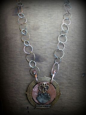 Custom Made Metalwork Brass, Copper, And Silver Handmade Necklace