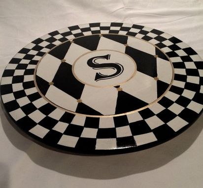 Custom Made Painted Lazy Susan // Whimsical Painted Turntable // Monogrammed Lazy Susan