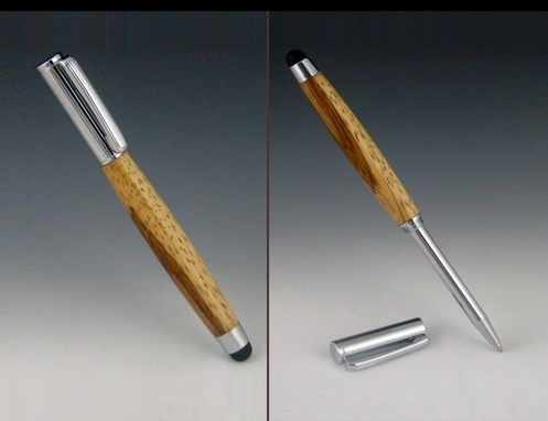 Custom Made Touch Stylus With Telescoping Mini Pen, Exotic Wood Body, Five Available Colors For Stylus Tip