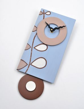 Custom Made Pendulum Art Clock - Nature Song - Pale Blue Wall Clock With Contemporary Design