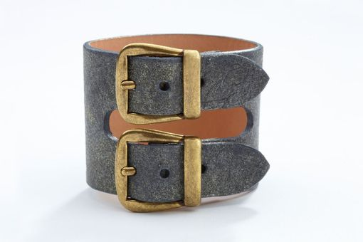 Custom Made Genuine Leather Double-Buckle Bracelet/Cuff In Dusted Gray
