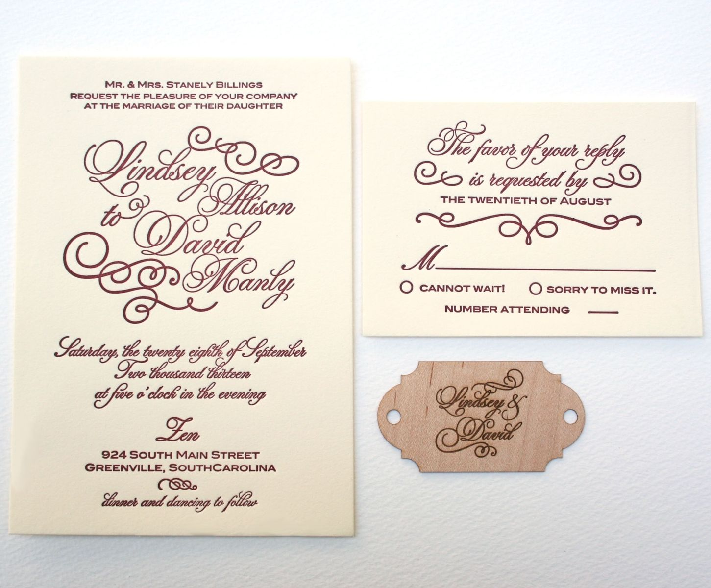 Custom Made Letterpress Calligraphy Wedding Invitation With Wood ...