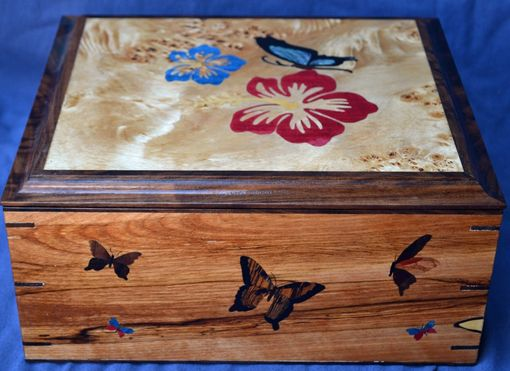 Custom Made Butterfly And Hibiscus Jewelry Box