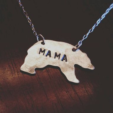 Custom Made Hand Stamped Mama Bear Necklace