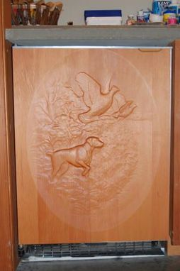 Custom Made Hunting Dog Carving