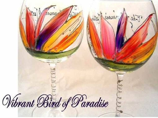 Custom Made Bird  Of Paradise Designed Wine Goblets