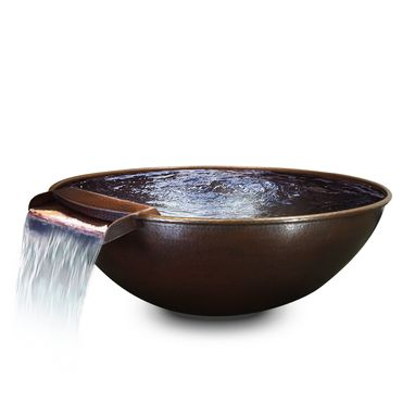 Custom Made 31 Inch Taza Moreno Hand Hammered Copper Fire And Water Bowl