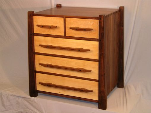 Custom Made Five Drawer Walnut & Maple Chest
