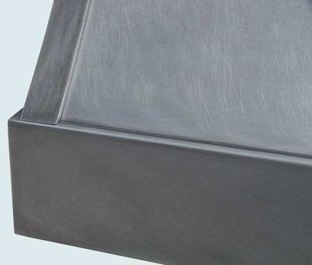 Custom Made Zinc Range Hood With Light Patina & Darker Straps