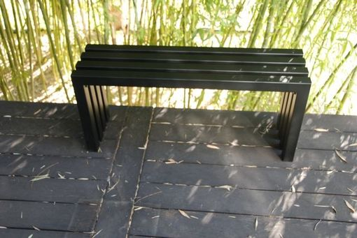 Custom Made Industry Black Linear Bench - Indoor Outdoor Hand Crafted Modern Bench