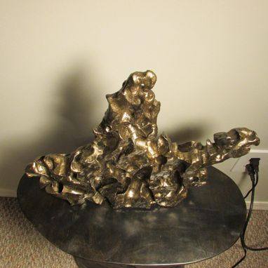 Custom Made Abstract Sculpture 'The Horseman' Ceramic Bronze Finish