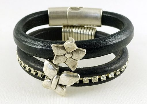 Custom Made Swarovski Crystal Regalize Leather Bracelet Antique Silver Butterfly Magnetic Clasp