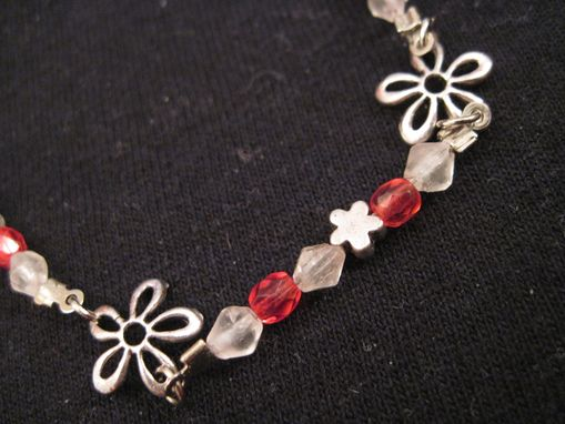 Custom Made Pink And White Crystal Beaded Necklace W/Small Flower