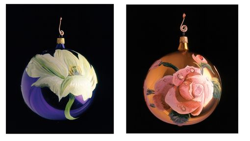 Custom Made Hand Painted Flower Christmas Ornaments