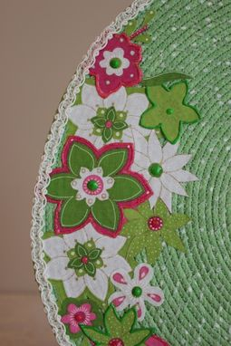 Custom Made Center Piece - Table Topper - Fabric Art - Fabric Wrapped Clothesline. Lace Edging