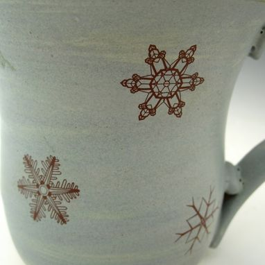 Custom Made Pottery Snowflake Mug In Light Blue And White
